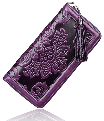 PIJUSHI Leather Wallets for Women Floral…