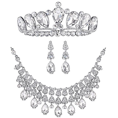 Bella-Vogue -Bridal Jewelry Sets Silver Crystal Rh…