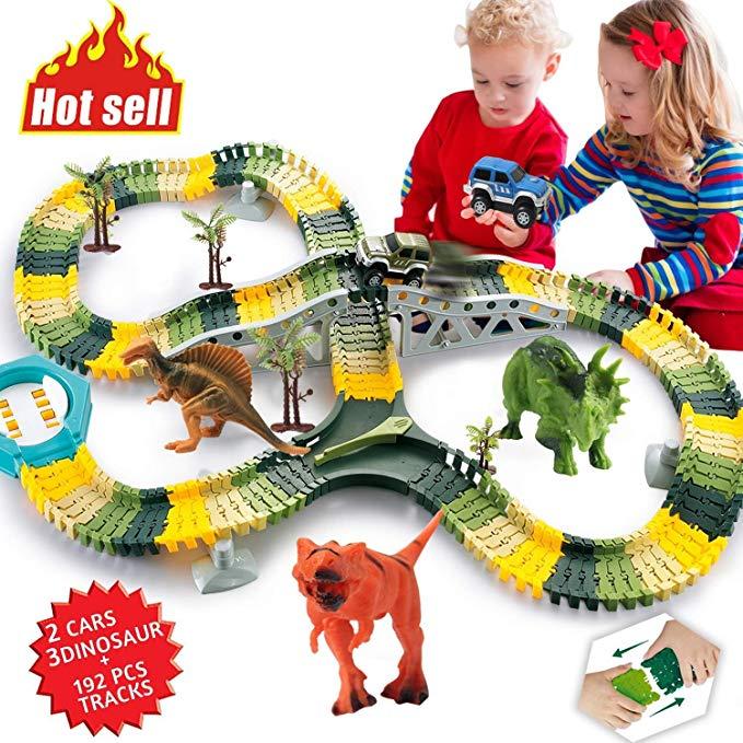 HOMOFY Dinosaur Toys 192Pcs Race Car Flexible Track, Create a Road,3  Dinosaurs,2 Cars Vehicle Playset,Perfect Birthday Toys for 3 4 5 6 Year Old  Boys