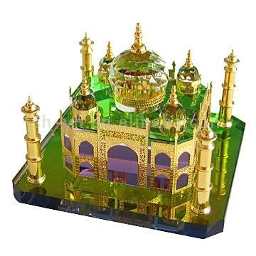 MARBLE STORE Taj Mahal Symbol of Love Crystal Gold…